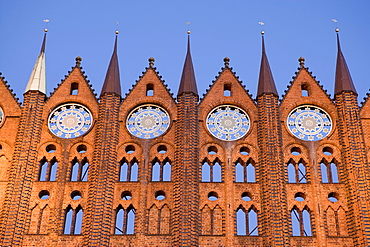 Gable roof of the city hall, Alter Markt Square, Stralsund, Baltic Sea, Mecklenburg-Western Pomerania, Germany, Europe