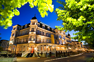 Illuminated Ahlbecker Hof hotel, Ahlbeck, Usedom, Baltic Sea, Mecklenburg-Western Pomerania, Germany, Europe