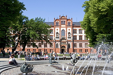 Fountain in front of the University at University Square, Rostock, Mecklenburg-Western Pomerania, Germany, Europe