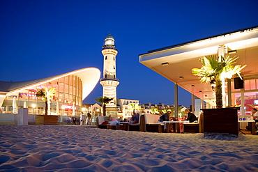 Lighthouse, Teepott, Schusters Strandbar, Warnemuende, Rostock, Baltic Sea, Mecklenburg-Western Pomerania, Germany, Europe