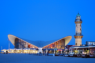 Lighthouse, Teepott, Schusters Strandbar, Warnemuende, Rostock, Baltic Sea, Mecklenburg-Western Pomerania, Germany, Europe