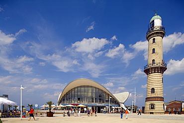 Teapot and Lighthouse, Warnemuende, Rostock, Mecklenburg-Western Pomerania, Germany, Europe