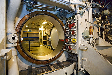 Interior view of a submarine, museum, harbour, Sassnitz, Ruegen, Baltic Sea, Mecklenburg-Western Pomerania, Germany, Europe