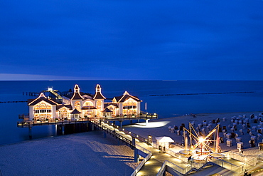 Pier under evening lights, Sellin, Ruegen, Baltic Sea, Mecklenburg-Western Pomerania, Germany, Europe