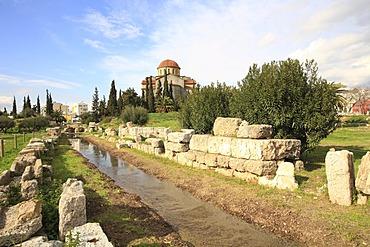Agia Triada Church at back, Kerameikos Cemetery, Athens, Greece