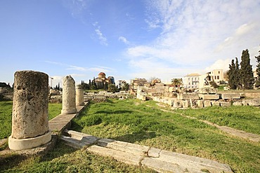 Agia Triada Church at back and view of Kerameikos Cemetery, Athens, Greece