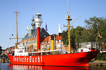 Town Hall, Deutsche Bucht fire ship, Emden Harbour, Lower Saxony, Germany, Europe