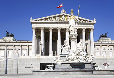 Statue of Athena, Pallas Athene, Parliament, Vienna, Austria, Europe