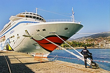 Cruiser Aida Blue docked in the harbor of Funchal on Madeira Portugal