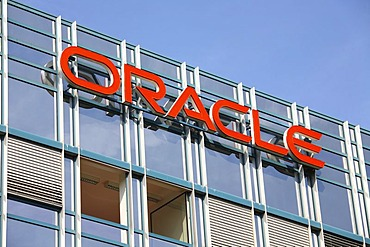 Company sign Oracle on an office building, Germany