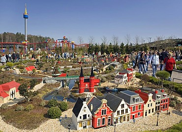 Impressions from the Legoland Park near Guenzburg, in the foreground the Miniland, in the background the 65 m high look-out