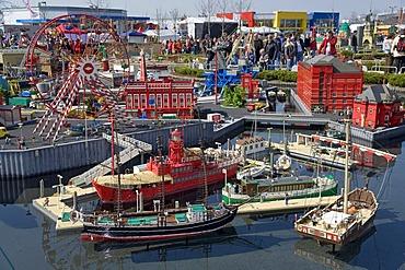 Many boats made of Lego bricks, Legoland Park near Guenzburg, Germany