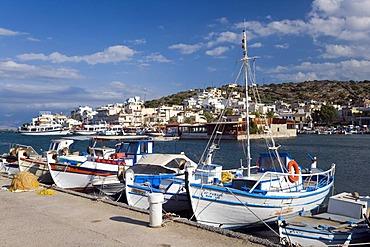 Boats in the port of Elounda, Crete, Greece