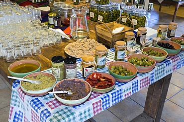 Olives and other typical products to taste, Agios Nikolaos, Crete, Greece