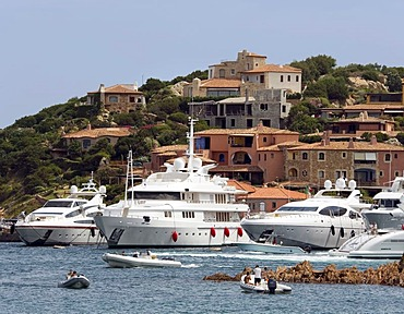 Big ocean-going yachts in the port of Porto Cervo, Costa Smeralda, Sardinia, Italy