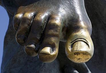 A foot of the saviour statue on the Monte Ortobene Mountain, near Nuoro, Sardinia, Italy