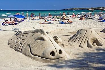 Sculptures in the sand, beach of Cala Millor, Mallorca, Balearics, Spain