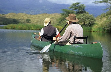 Canoe on a Momella Lake, Mount Meru, Arusha National Park, Tanzania