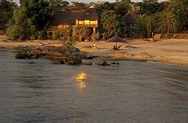Lodge on a beach of Lake Malawi, Makuzi Beach, Malawi