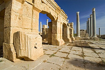 Columns in front of the theater at Leptis Magna