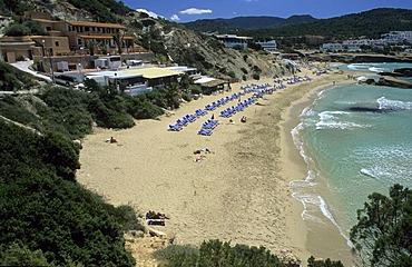 Hotels and beaches at Cala Tarida, Ibiza