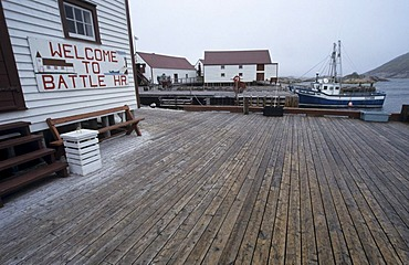 Historic ware houses in the harbour of Battle Harbour, Battle Harbour National Historic District, Labrador
