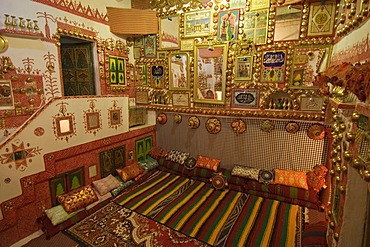 Living room of a traditional Tuareg house in Ghadames, Ghadamis, Libya