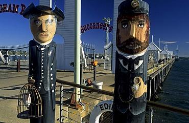 Bollards of artist Jan Mitchell at the seaside promenade, waterfront, of Geelong, Victoria, AUS
