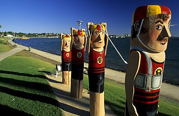 Bollards of artist Jan Mitchell at the seaside promenade, waterfront, of Geelong, Victoria, AUS