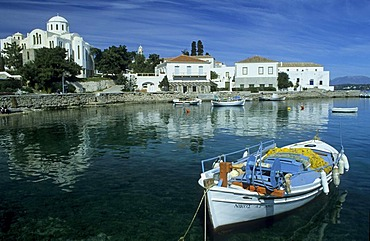Old captains homes on the harbour of Spetses, saronian islands, Greece