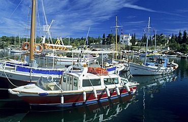 Ships and boats in the harbour of Spetses, saronian islands, Greece