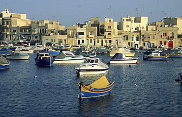 Boats in the harbour of Marsaxlokk, Malta island