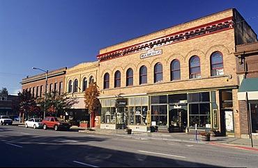 Historic buildings, Mainstreet of Sandpoint, Lake Pend Oreille, Idaho, USA