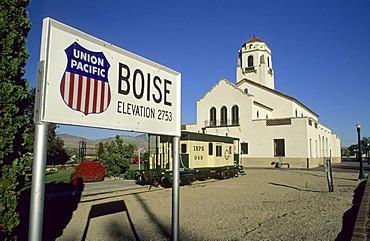 Historic Union Pacific railway station at Boise, Idaho, USA