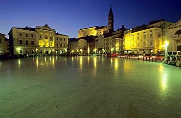 Tartini square in Piran at night, Primorska region, Slovenia