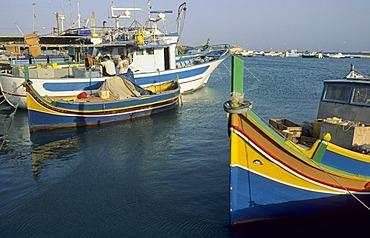 Fishing boats in the harbour of Marsaxlokk, Malta