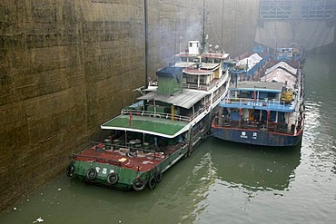 Cargoships on the Jangzi River in the Gezhouba locks near Yichang, China