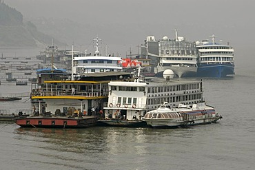 Chinese river boats on the Jangtze river, China