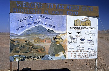 Advertisement sign of the indian village of Coyo, Salar de Atacama, Chile
