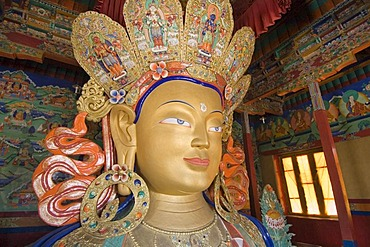 Famous buddha statue in the buddhist monastery of Thikse, Thiksay, Ladakh, Jammu and Kashmir, India