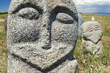 Historic grave stone, balbal, in Balasagun, silk road, Kyrgyzstan