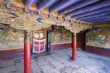 Front court of a buddhist monastery in Leh, Ladakh, Jammu and Kashmir, India