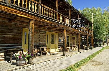Historic hotel in Nevada City, Montana, USA