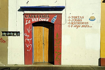 Colourful wall in the old town of Oaxaca, Mexico