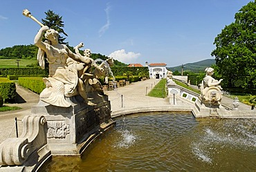 Castle garden, historic old town of Cesky Krumlov, Bohemia, Czech Republic