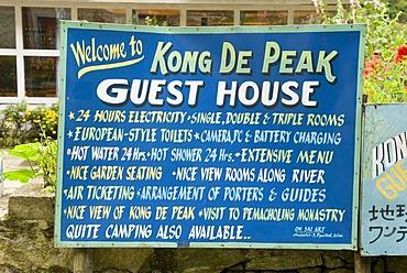 Advertisment for Lodge and Restaurant at the Everest Trail, Solukhumbu, Khumbu, Nepal