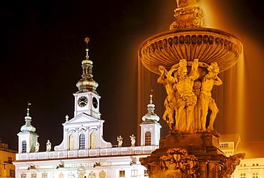 Fountain, historic old town of Ceske Budejovice, Budweis, Budvar, south Bohemia, Czech Republic