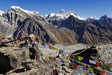 View from Gokyo Ri (5360) towards Mount Everest (8850), Nuptse (7861), Lhotse (8501) and Makalu (8463), Sagarmatha National Park, Khumbu Himal, Nepal