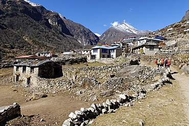 Trekking group at Thamo Sherpa village, Sagarmatha National Park, Khumbu, Nepal