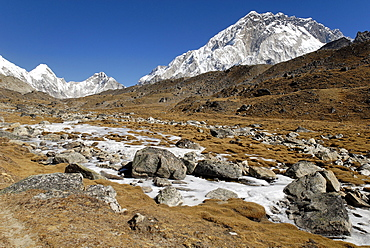 Valley with Khumbu glacier and Nuptse (7861), Khumbu Himal, Sagarmatha National Park, Nepal